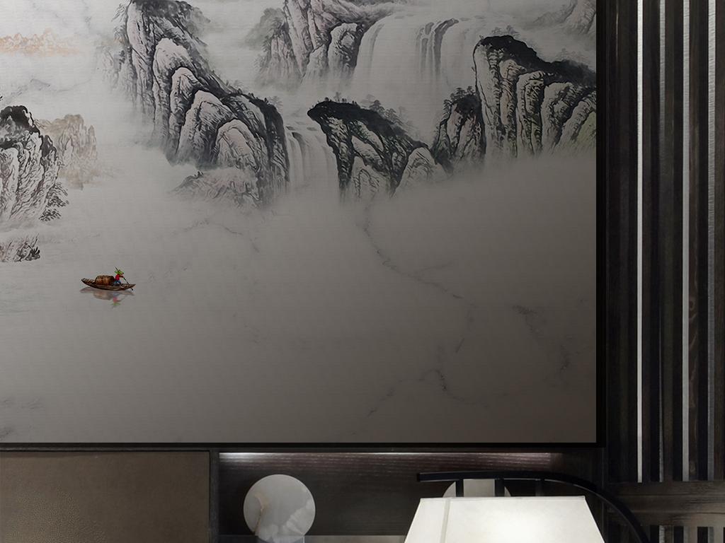 新中式意境大理石纹水墨山水客厅背景墙壁画