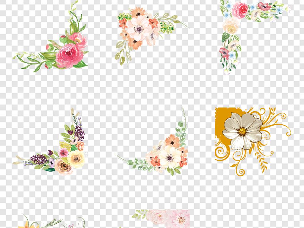 免抠元素 花纹边框 卡通手绘边框 > 花框花朵花卉花环花边花纹png免扣