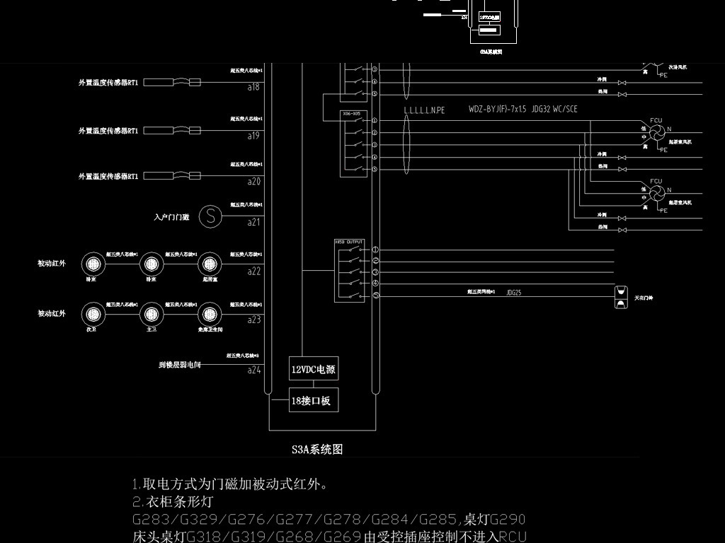 客房精装酒店施工图纸(电梯控制系统)电气安装图纸设计图片