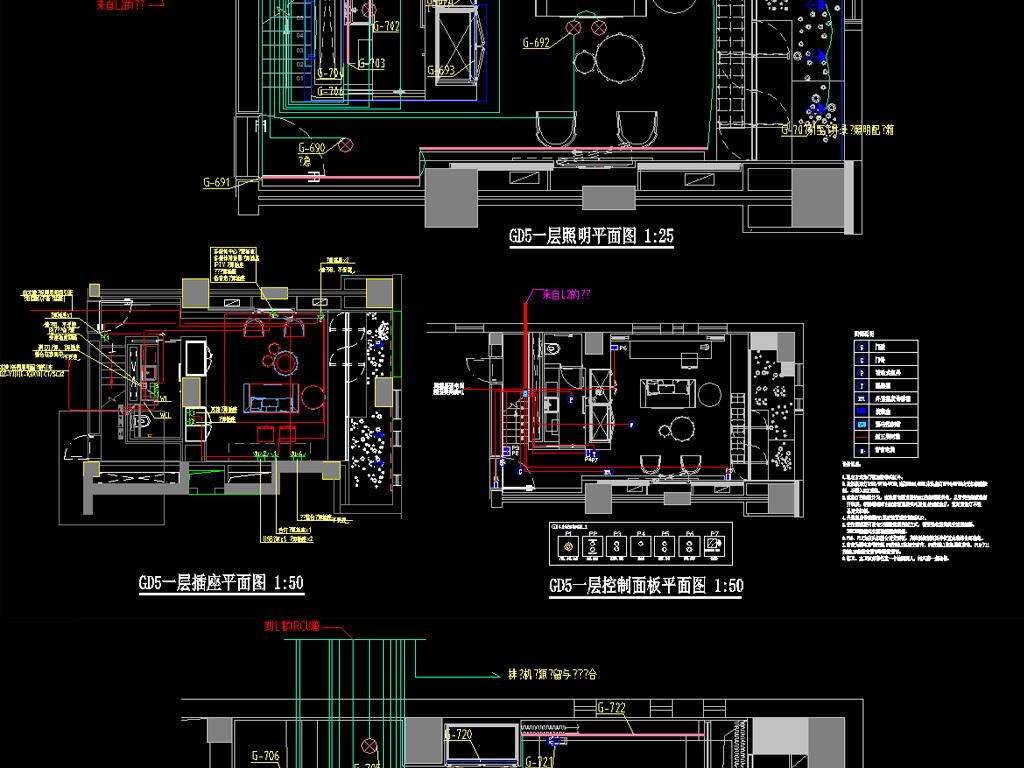 客房精装图纸v客房图纸(酒店控制系统)@电气里什么钢结构在代表图片