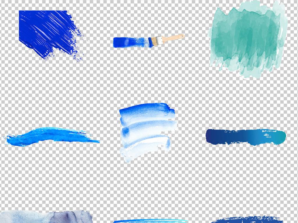 蓝色系墨迹笔刷png透明背景免扣素材
