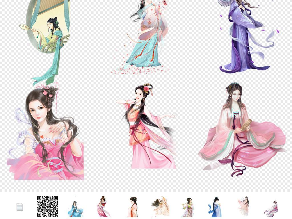 手绘女孩卡通女孩古装美女图片服装设计插画美女素材美人美女插画古代