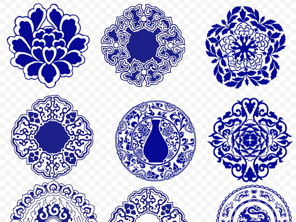 古典中国风青花瓷图案ai矢量图案素材元素