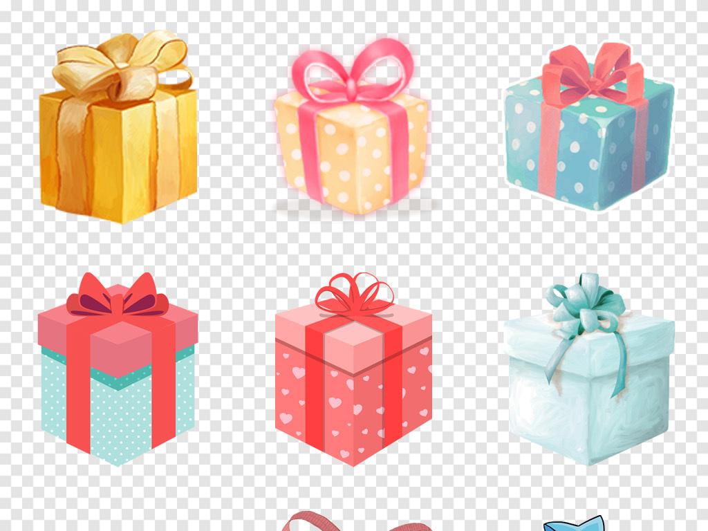 卡通手绘礼盒礼品礼物活动促销海报png免扣素材