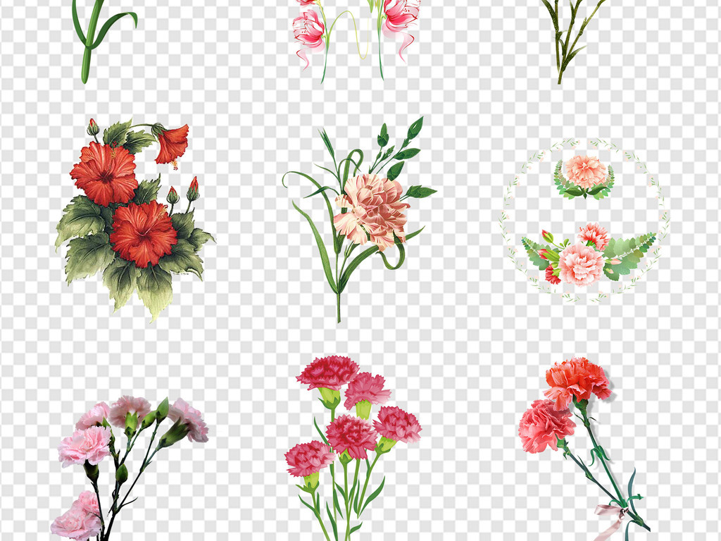 手绘母亲节母情节素材母亲节贺卡母亲节海报感恩母亲节设计素材鲜花