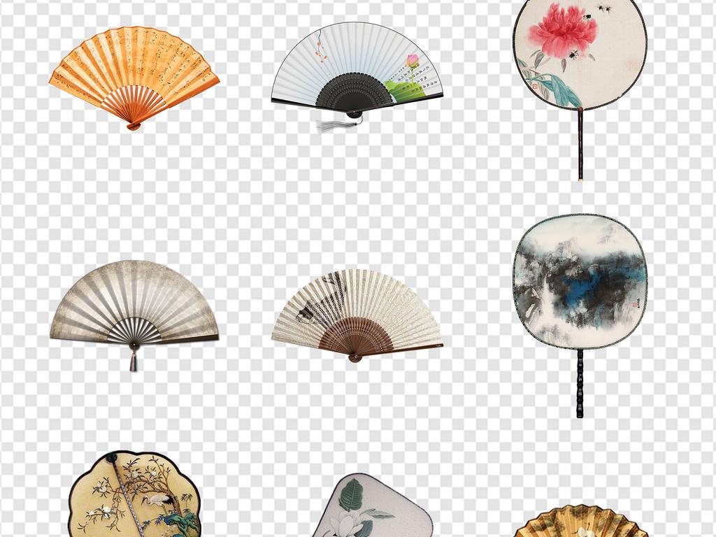 2019新年中国风古风扇子折扇海报png素材