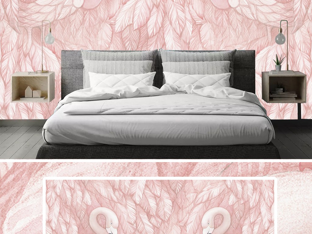 粉色手绘天鹅ins北欧风清新治愈系背景墙图片设计素材 高清模板下载
