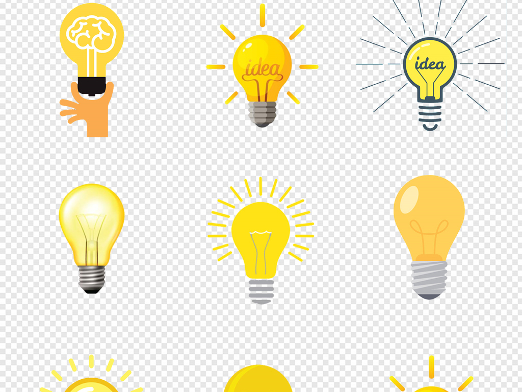 手绘卡通创意发光黄色灯泡图标png素材图片 模板下载 2.19MB 居家物品大全 生活工作图片