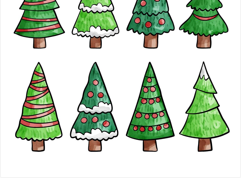 矢量ai水彩手绘卡通圣诞树免抠素材