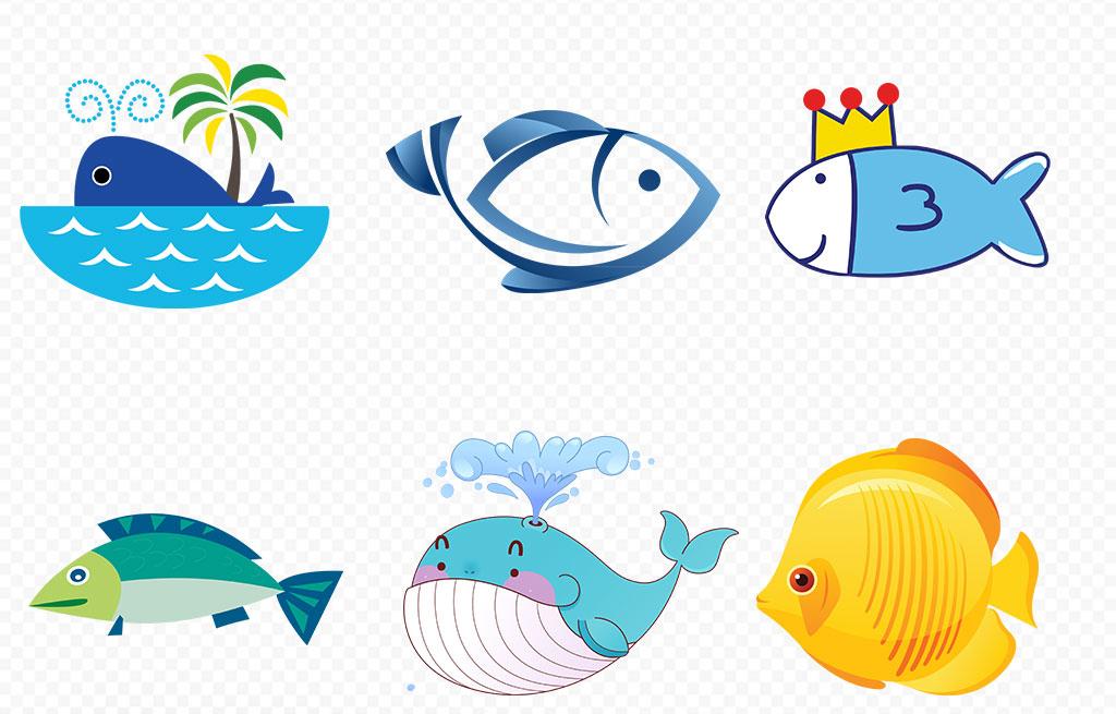 可爱卡通手绘鱼海洋生物海报素材背景图片png