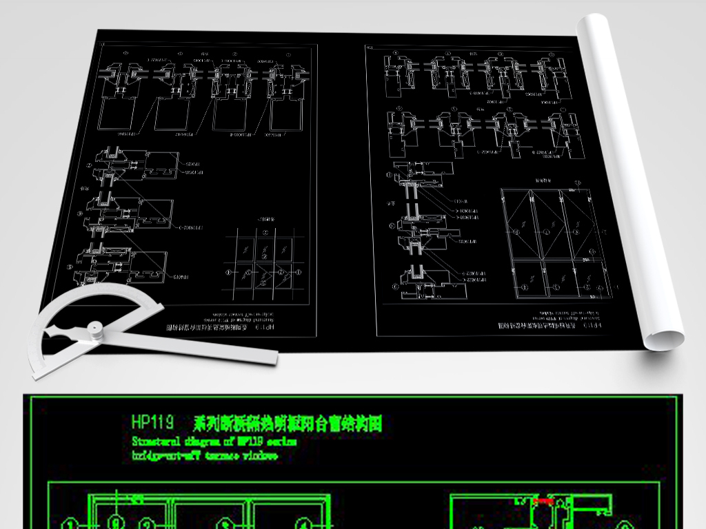 CAD隔热平开门装修节点图纸大样图施工图cad制图对cpu要求的图片
