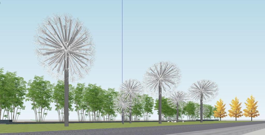 现代创意抽象蒲公英球形植物雕塑钢结构小品景观配景su模型