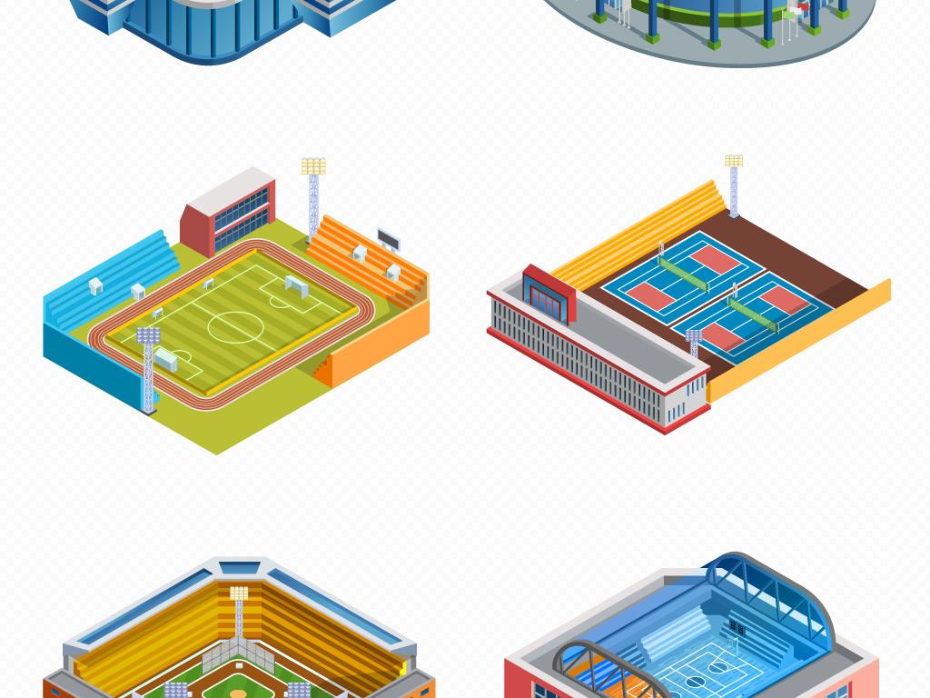 商场加油站超市停车场体育场公共设施扁平化矢量素材图片 模板下载 4.48MB 其他大全 生活工作