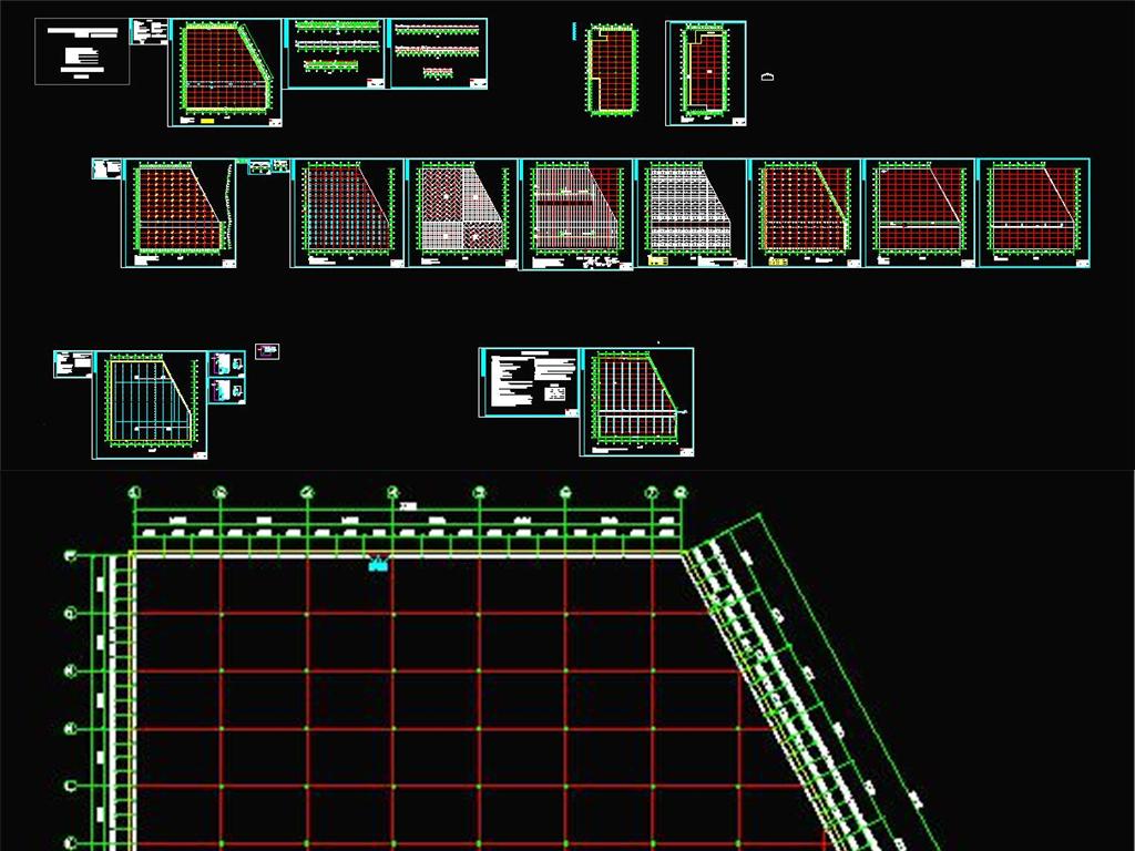 玻璃智能连栋温室大棚施工图(CAD,14张图纸)_土木在线