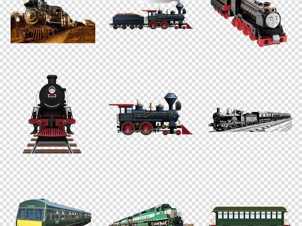 老式蒸汽火车复古火车头png免抠素材