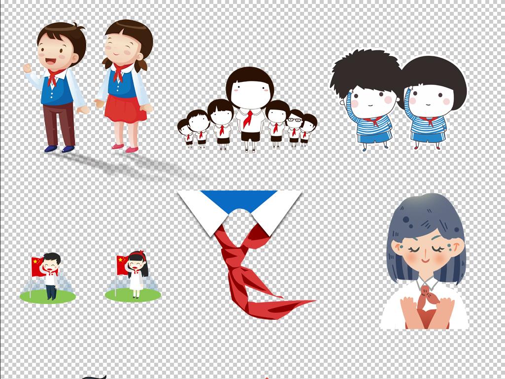 免抠元素 人物形象 动漫人物 > 原创红领巾少先队卡通儿童小学生海报