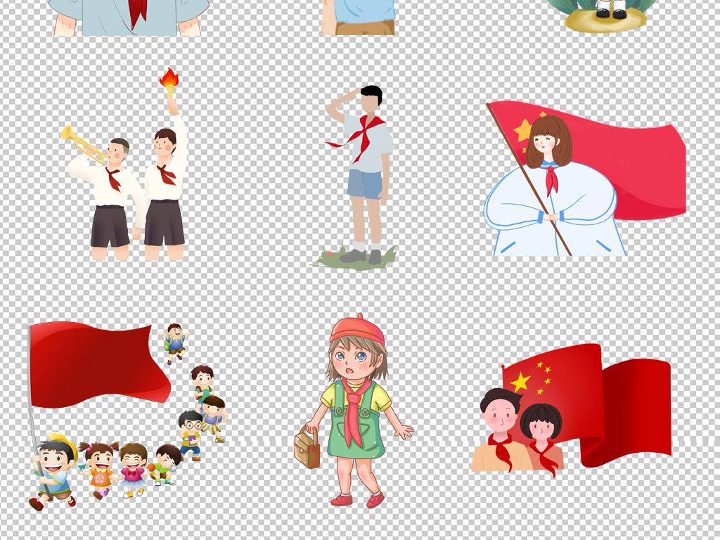 原创红领巾少先队卡通儿童小学生海报素材背景png
