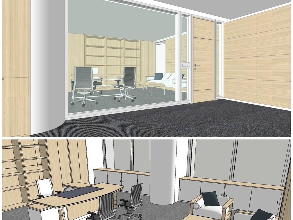 原创精品现代办公室室内su模型设计