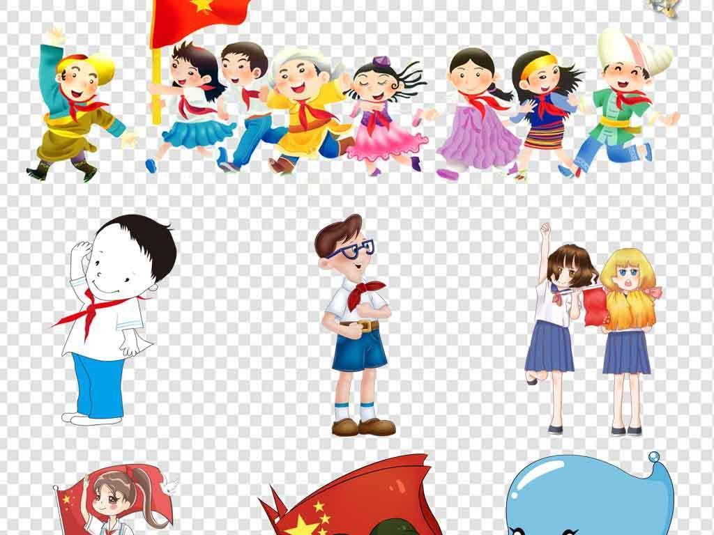 手绘建军节小学生红领巾卡通儿童儿童卡通敬礼小学生敬礼少先队员卡通