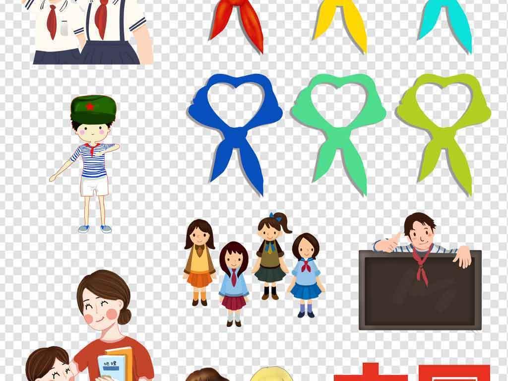 少先队员红领巾少先队卡通儿童小学生敬礼