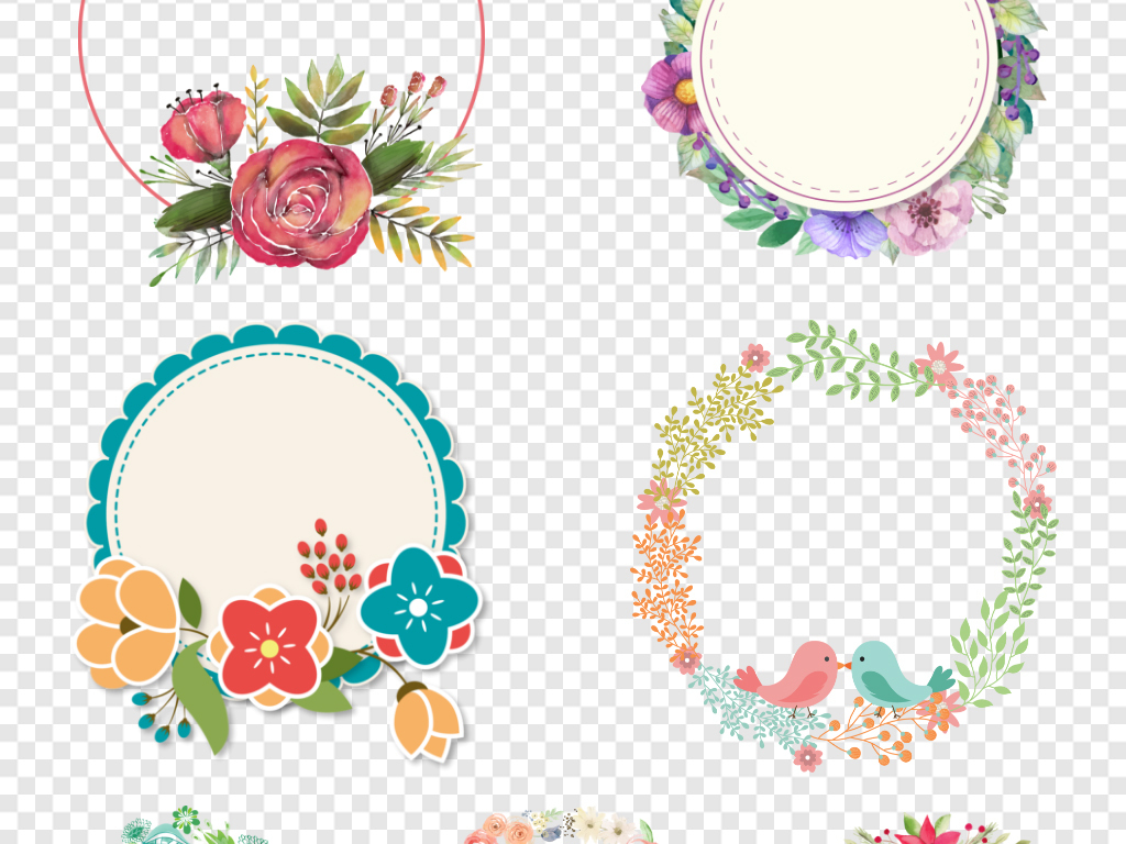 森系植物简约淡雅花圈花卉边框小清新水彩水彩花卉花环免抠元素清新