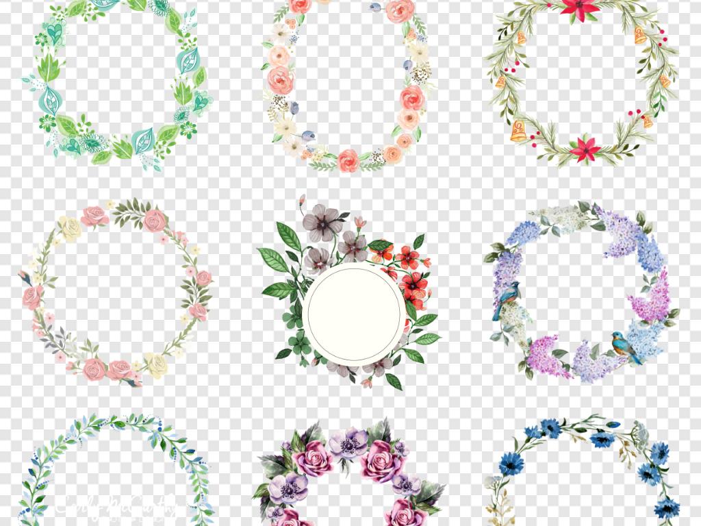 森系植物简约淡雅花圈花卉边框小清新水彩水彩花卉花环免抠元素清新花