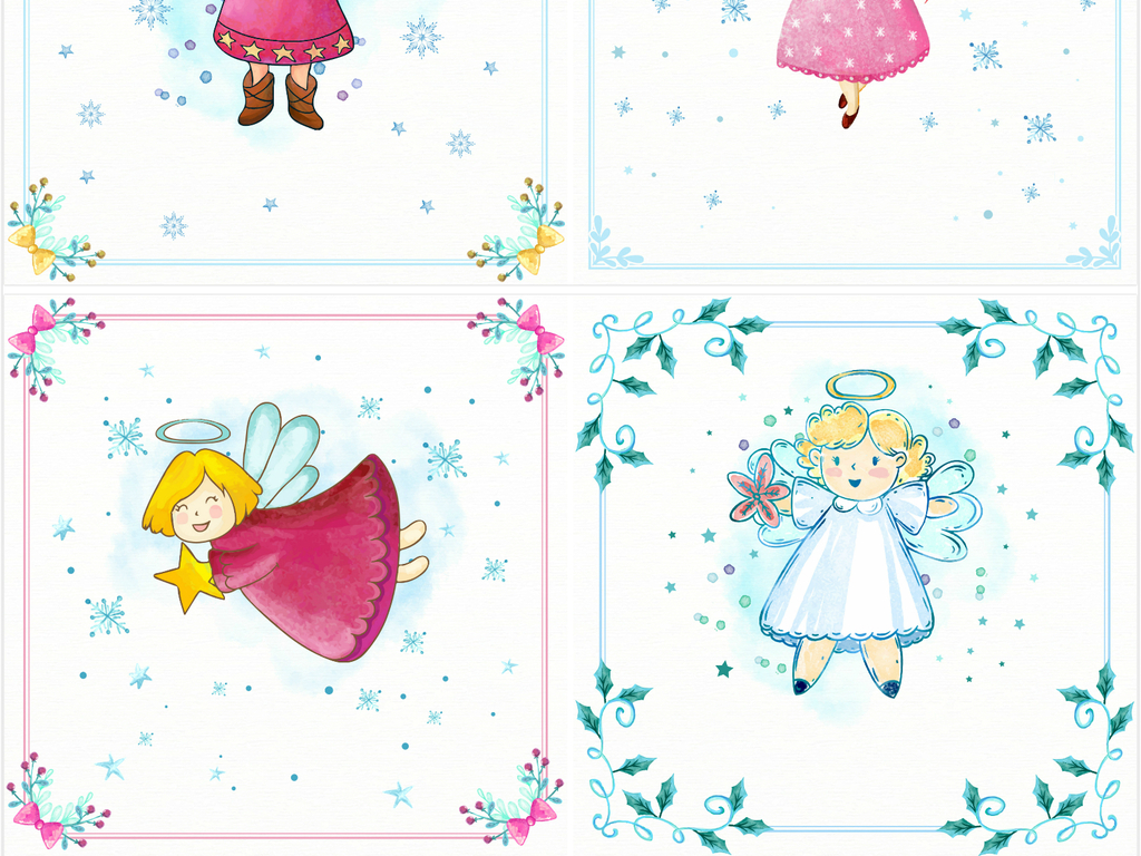 ai卡通童趣水彩手绘圣诞天使素材