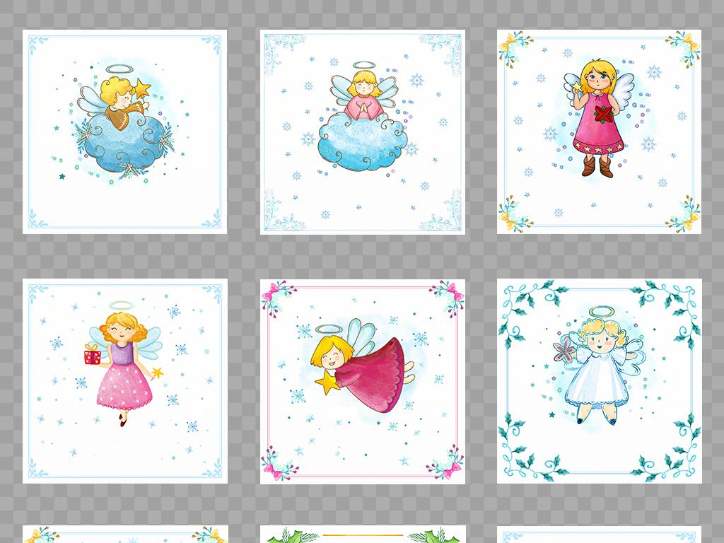 素材萌系北欧高清天使圣诞人物圣诞天使素材天使形象梦幻雪花可爱童趣