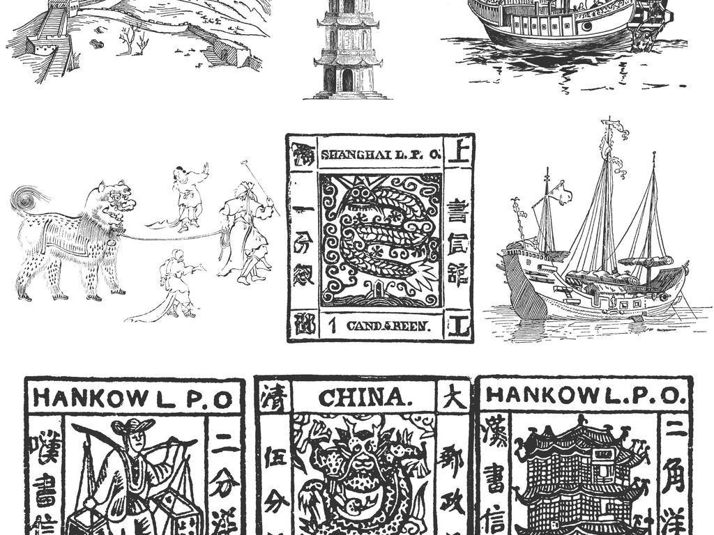 黑白线稿中国元素建筑龙帆船舞狮长城手绘稿