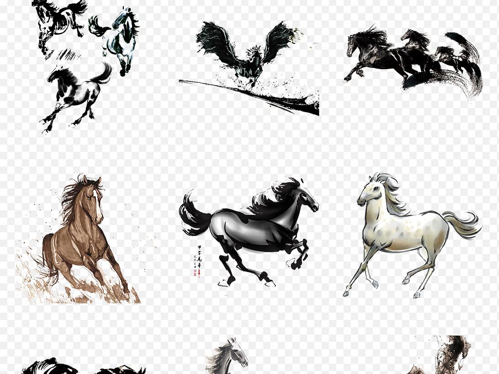 免抠元素 自然素材 动物 > 中国风水墨骏马奔腾海报素材背景图片png
