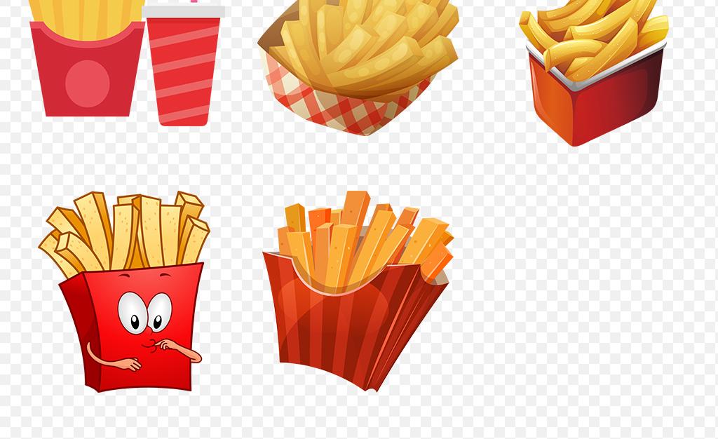 卡通手绘美味薯条土豆海报素材背景图片png