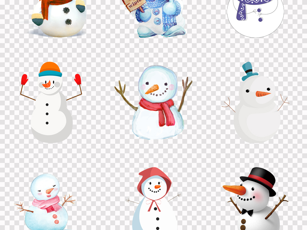 免抠元素 人物形象 动漫人物 > 可爱卡通手绘雪人圣诞节唯美雪人海报