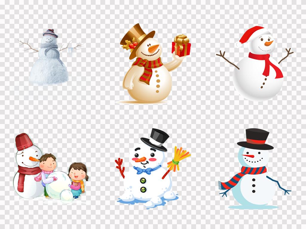 可爱卡通手绘雪人圣诞节唯美雪人海报png素材