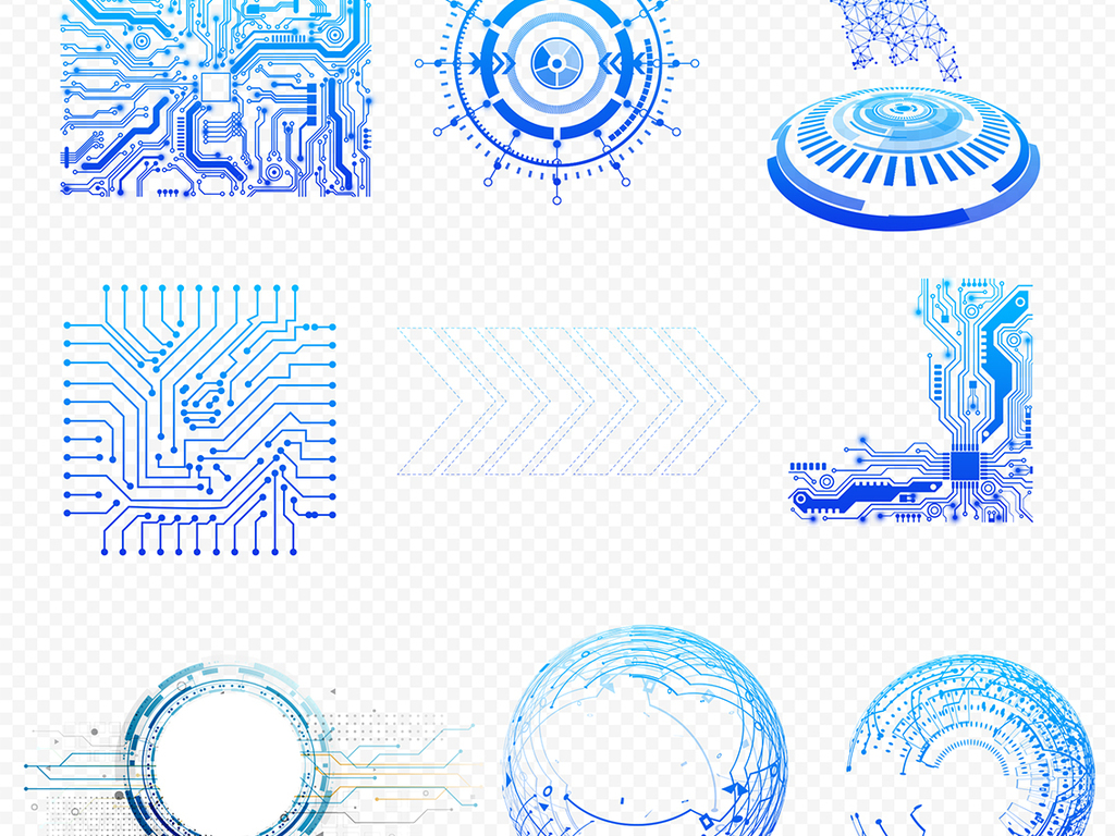 it蓝色科技几何线条圆形光圈电路板设计元素