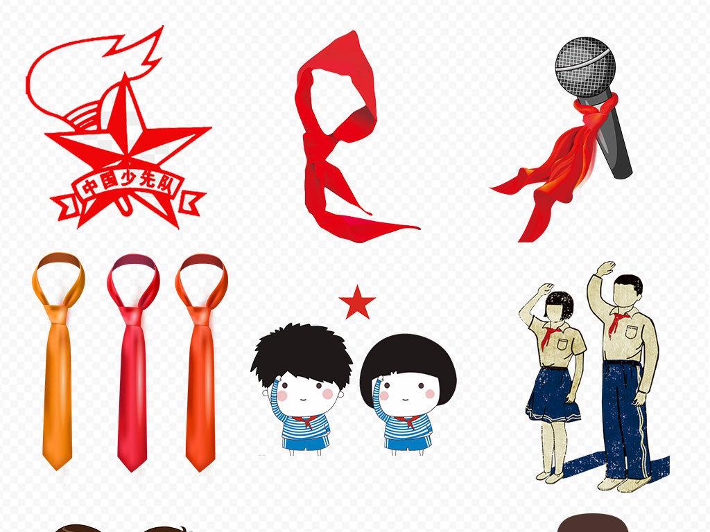 可爱卡通儿童红领巾少先队员学生人物海报png素材图片