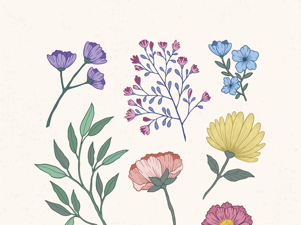 手绘花春天清新树叶绿植蔓藤花纹树枝叶子花朵花卉卡通小草花草边框