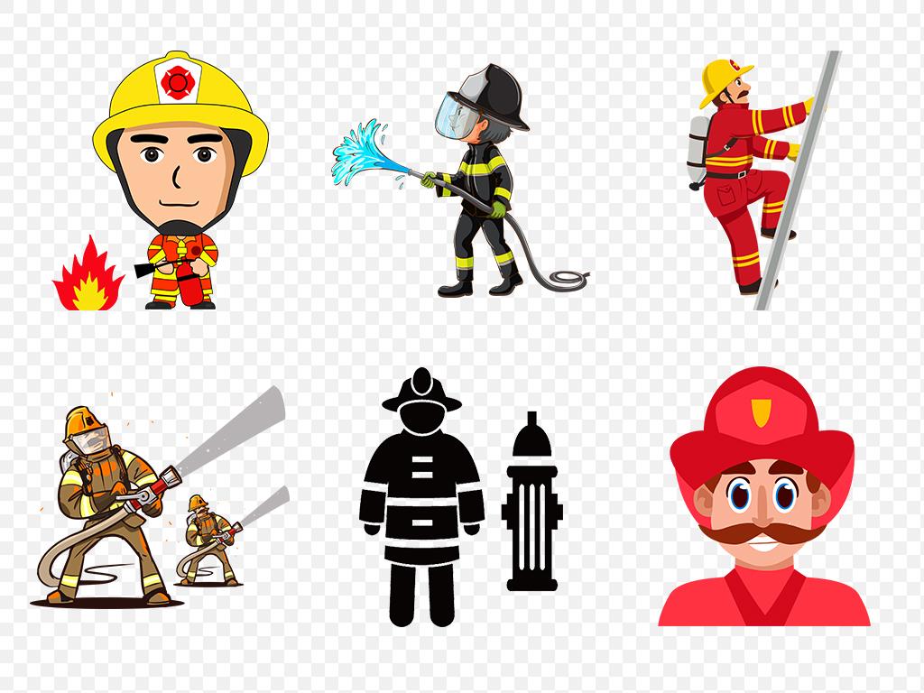 卡通手绘动漫救火消防员漫画人物海报素材背景图片png