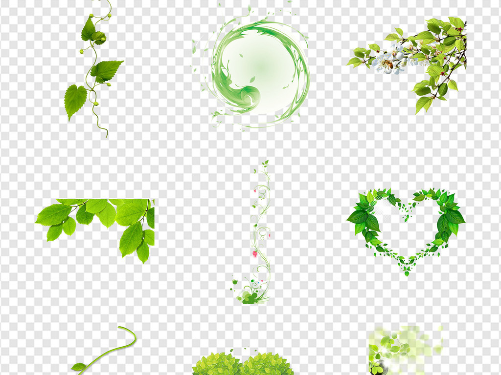 手绘缠绕卡通绿色树叶素材图片背景图片花藤藤蔓花纹绿叶装饰春天海报