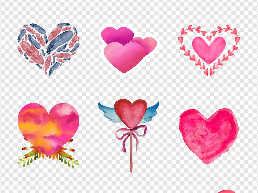 新年婚庆手绘水彩爱心心形心动海报png素材