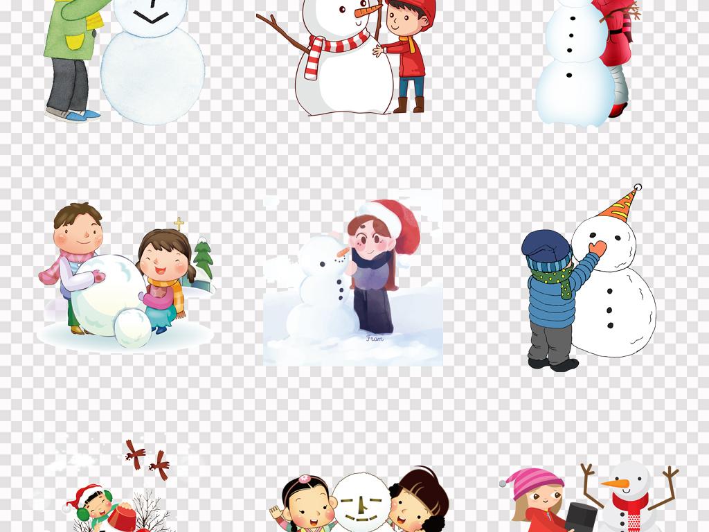 免抠元素 人物形象 动漫人物 > 可爱卡通手绘堆雪人圣诞节唯美海报