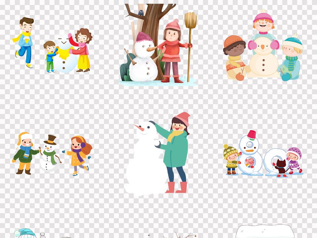 松树雪地圣诞素材雪屋促销免抠手绘卡通雪人圣诞节冬天素材装饰素材