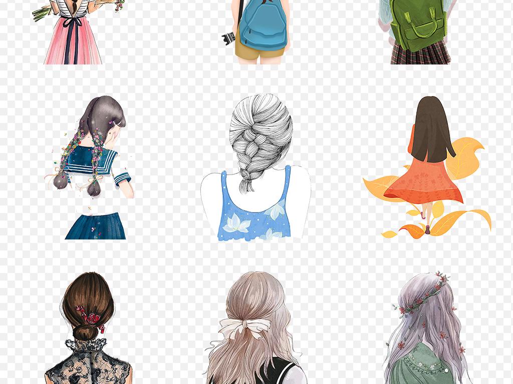 卡通手绘女孩背影彩绘人物文艺海报素材背景图片png