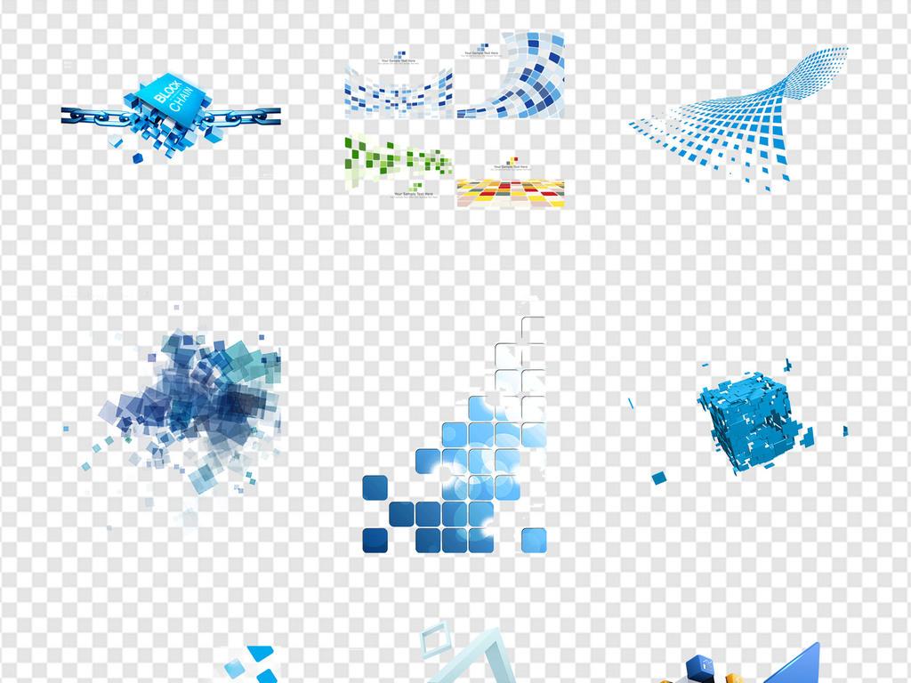 蓝色高科技感科技方块格子几何海报png素材图片_模板