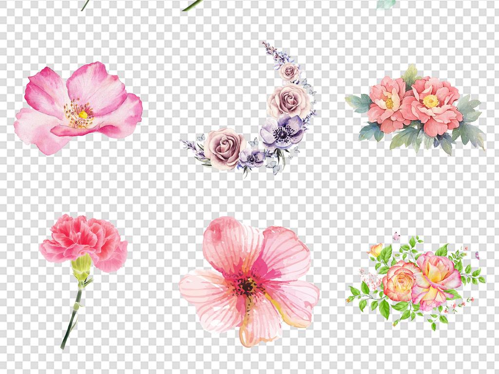 唯美手绘水彩小清新植物花卉花朵背景免扣png