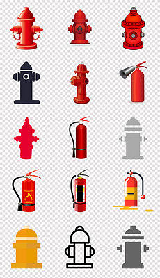 手绘红色消防栓灭火器消防禁令标识png素材-消防图素材 消防图素材