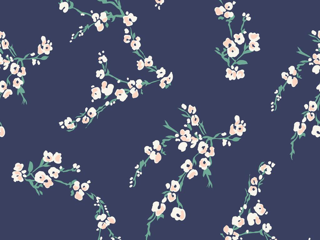 复古手绘植物枝叶花纹图案设计图片_高清素材下载(1.