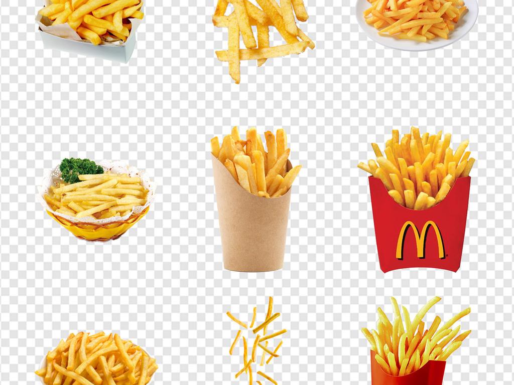 快餐厅手绘美味美食薯条土豆海报png素材