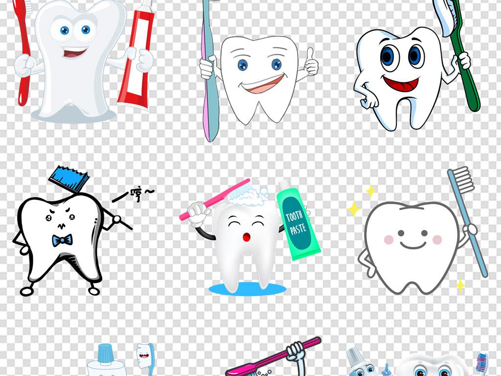手绘牙膏牙刷手拿牙刷海报免扣png素材