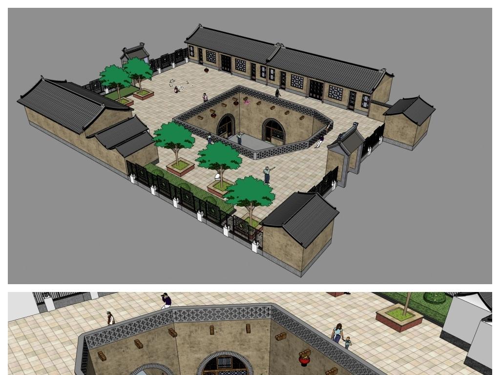 四合院模型su中式农家乐酒店模型su古建客栈旅馆模型su中式徽派园林图片