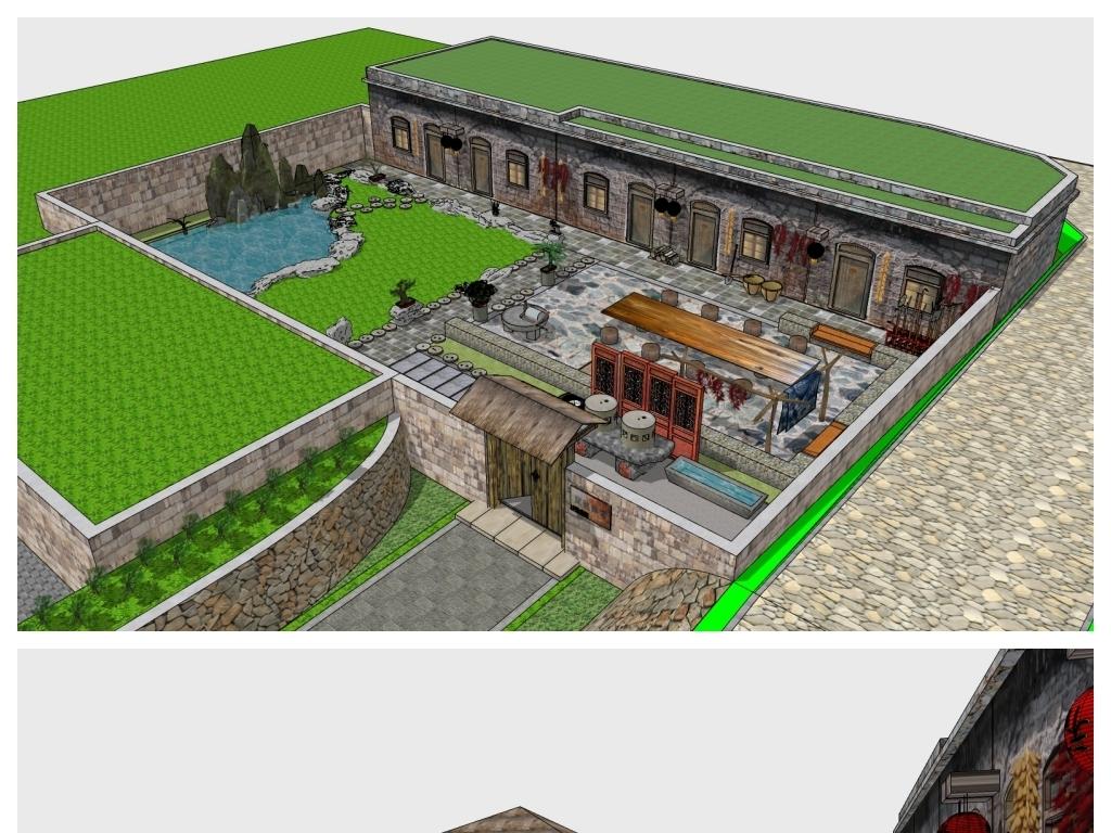 su中式四合院民宿农家乐窑洞庭院模型设计图下载(图片